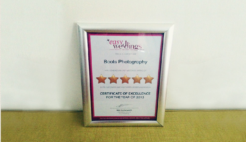 Certificate of Excellence - Easy Weddings