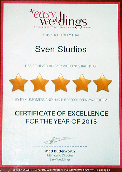 Easy Weddings five-star supplier Certificate of Excellence